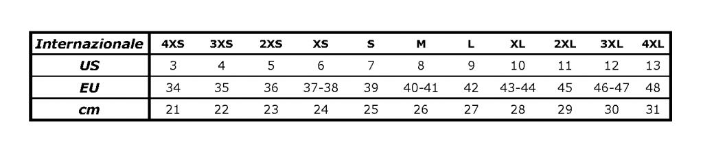 Tabella comparativa taglie per scarpette in neoprene